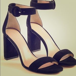 Ann Taylor black suede block heels